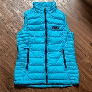 Patagonia turquoise winter down puff vest